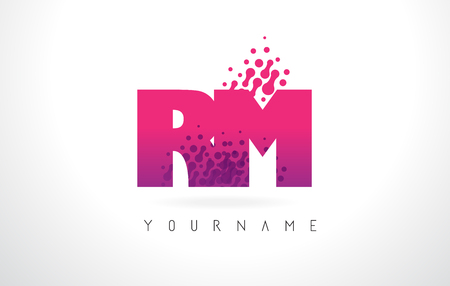 RM R M Letter Logo with Pink Letters and Purple Color Particles Dots Design. Stock Vector - 79940904