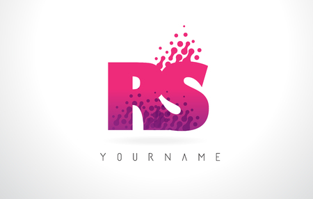 RS R S Letter Logo with Pink Letters and Purple Color Particles Dots Design.