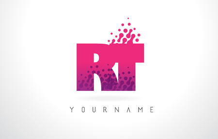 RT R T Letter Logo with Pink Letters and Purple Color Particles Dots Design.