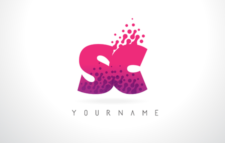 letter c: SC S C Letter Logo with Pink Letters and Purple Color Particles Dots Design.