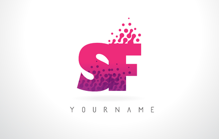 SF S F Letter Logo with Pink Letters and Purple Color Particles Dots Design.
