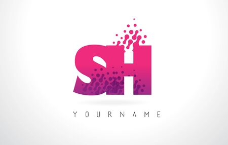 sh: SH S H Letter Logo with Pink Letters and Purple Color Particles Dots Design.