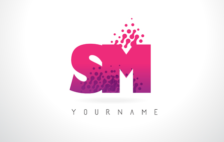 SM S M Letter Logo with Pink Letters and Purple Color Particles Dots Design.