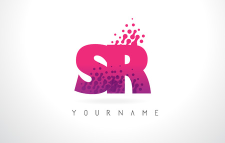 SR S R Letter Logo with Pink Letters and Purple Color Particles Dots Design.