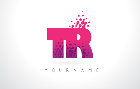 TR T R Letter Logo with Pink Letters and Purple Color Particles Dots Design.