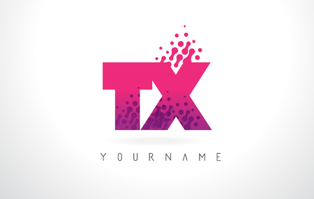 tx: TX T X Letter Logo with Pink Letters and Purple Color Particles Dots Design.