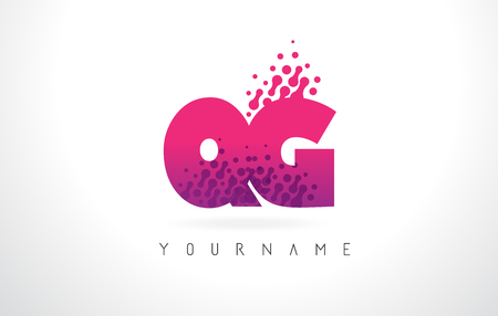 QG Q G Letter Logo with Pink Letters and Purple Color Particles Dots Design.