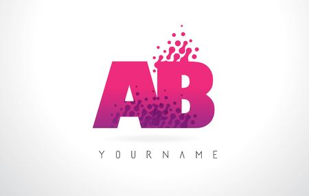 AB A B Letter Logo with Pink Letters and Purple Color Particles Dots Design. Illustration