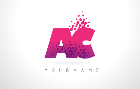 ac: AC A C Letter Logo with Pink Letters and Purple Color Particles Dots Design.
