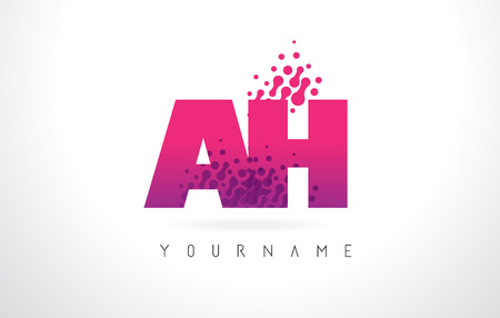 AH A H Letter Logo with Pink Letters and Purple Color Particles Dots Design. Illustration