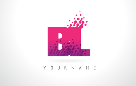 bl: BL B L Letter Logo with Pink Letters and Purple Color Particles Dots Design.