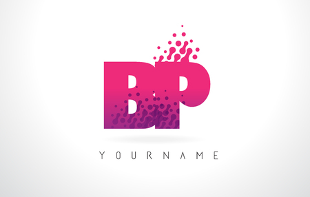 BP B P Letter Logo with Pink Letters and Purple Color Particles Dots Design. Illustration
