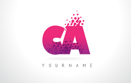 CA C A Letter Logo with Pink Letters and Purple Color Particles Dots Design.