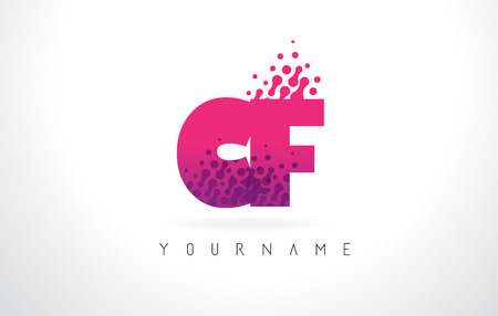 CF C F Letter Logo with Pink Letters and Purple Color Particles Dots Design. Illustration