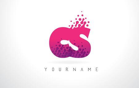 CS C S Letter Logo with Pink Letters and Purple Color Particles Dots Design. Ilustração
