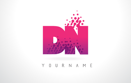 DN D N Letter Logo with Pink Letters and Purple Color Particles Dots Design.