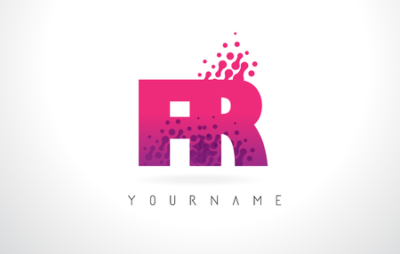 FR F R Letter Logo with Pink Letters and Purple Color Particles Dots Design. Illustration