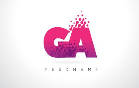 GA GA Letter Logo avec Pink Letters et Purple Color Particles Dots Design.