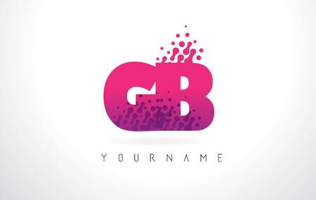 GB G B Letter Logo with Pink Letters and Purple Color Particles Dots Design. Illustration