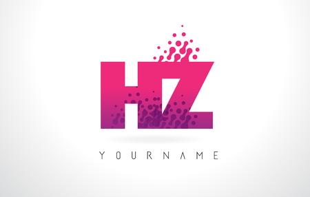 HZ H Z Letter Logo with Pink Letters and Purple Color Particles Dots Design.