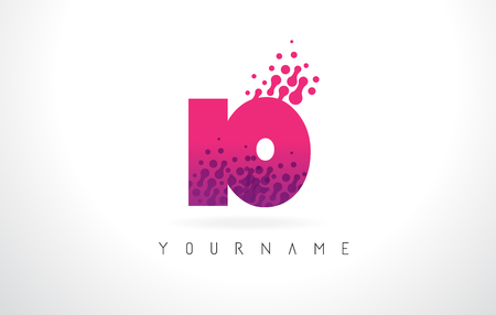 IO I O Letter Logo with Pink Letters and Purple Color Particles Dots Design.