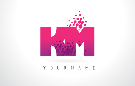 KM K M Letter Logo with Pink Letters and Purple Color Particles Dots Design.