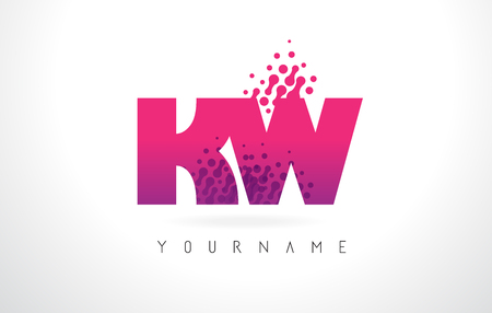 kw: KW K W Letter Logo with Pink Letters and Purple Color Particles Dots Design. Illustration