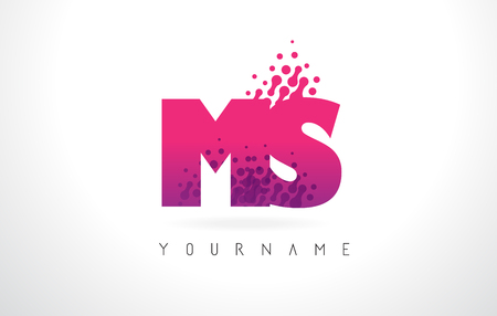 MS M S Letter Logo with Pink Letters and Purple Color Particles Dots Design.