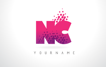 letter c: NC N C Letter Logo with Pink Letters and Purple Color Particles Dots Design. Illustration