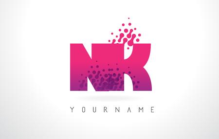NK N K Letter Logo with Pink Letters and Purple Color Particles Dots Design. Illusztráció