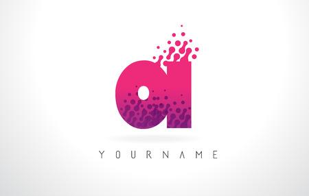 OI O I Letter Logo with Pink Letters and Purple Color Particles Dots Design. Ilustração