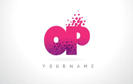 OP O P Letter Logo with Pink Letters and Purple Color Particles Dots Design.