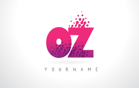 OZ O Z Letter Logo with Pink Letters and Purple Color Particles Dots Design.