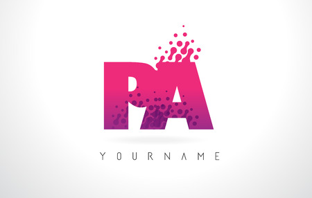 PA P A Letter Logo with Pink Letters and Purple Color Particles Dots Design.