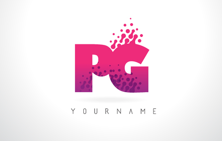 PG P G Letter Logo with Pink Letters and Purple Color Particles Dots Design. Illustration
