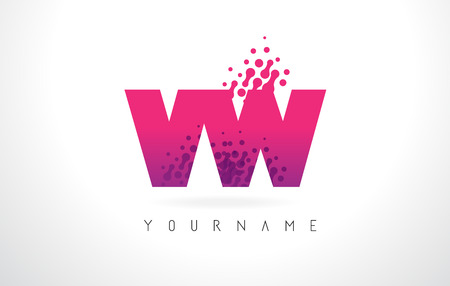 vw: VW V W Letter Logo with Pink Letters and Purple Color Particles Dots Design.