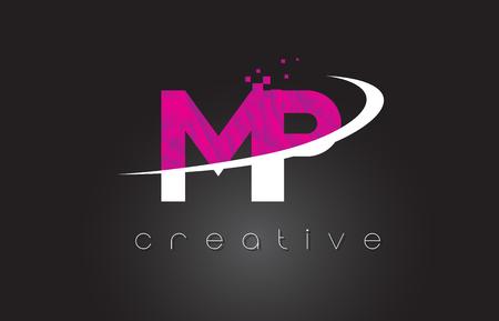 MP M P Creative Letters Design. White Pink Letter Vector Illustration. Illusztráció