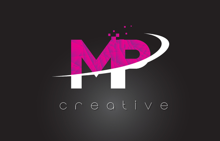 MP M P Creative Letters Design. White Pink Letter Vector Illustration. Illustration