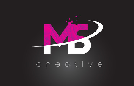 MS M S Creative Letters Design. White Pink Letter Vector Illustration.