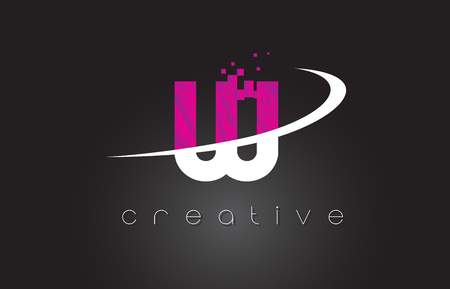 W Creative Letters Design. White Pink Letter Vector Illustration.