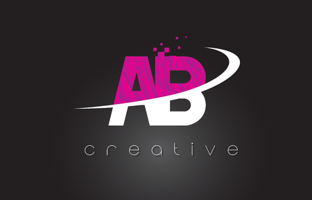 AB A B Creative Letters Design. White Pink Letter Vector Illustration. Illustration