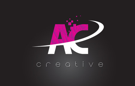 letter c: AC A C Creative Letters Design. White Pink Letter Vector Illustration.