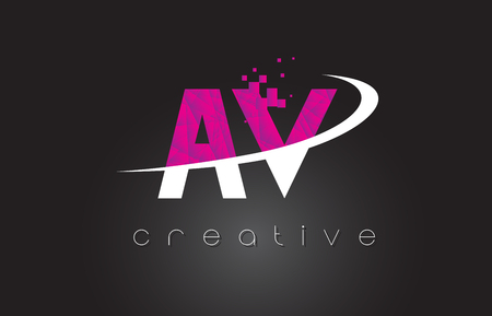 AV A V Creative Letters Design. White Pink Letter Vector Illustration. Illustration