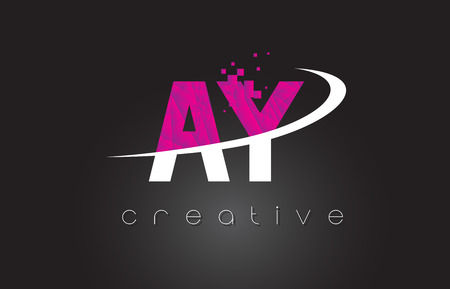AY A Y Creative Letters Design. White Pink Letter Vector Illustration.