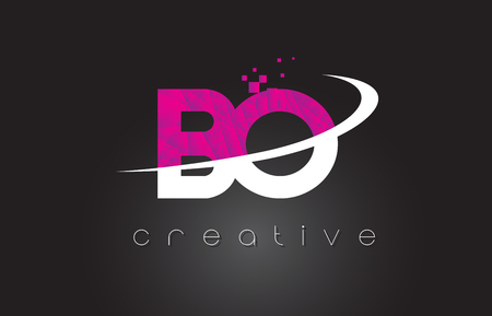BO B O Creative Letters Design. White Pink Letter Vector Illustration. Çizim
