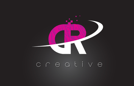 cr: CR C R Creative Letters Design. White Pink Letter Vector Illustration.