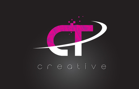 CT C T Creative Letters Design. White Pink Letter Vector Illustration. Illustration