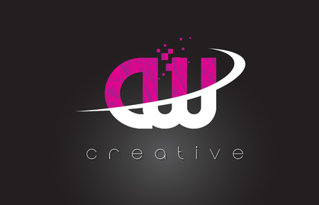 c a w: CW C W Creative Letters Design. White Pink Letter Vector Illustration.