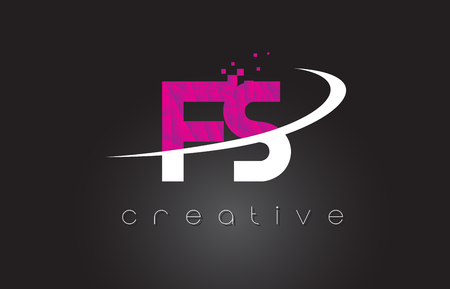 FS F S Creative Letters Design. White Pink Letter Vector Illustration.