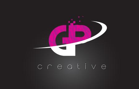 GP G P Creative Letters Design. White Pink Letter Vector Illustration.